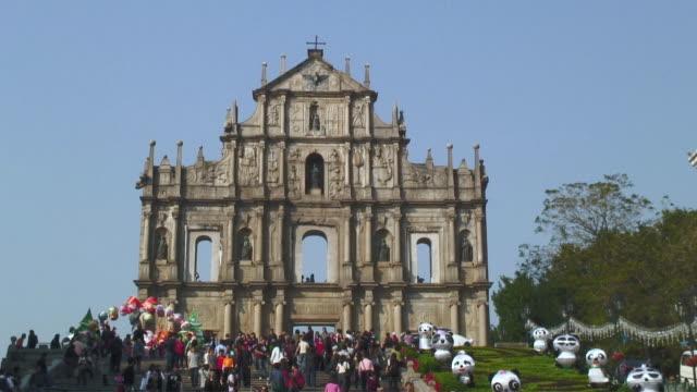 WS View of ruins of Church of St Paul / Macau, China