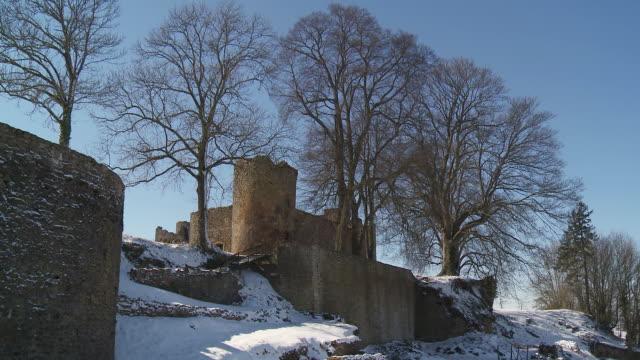 MS TU View of Ruins of Monquintin castle / Monquintin, Belgium