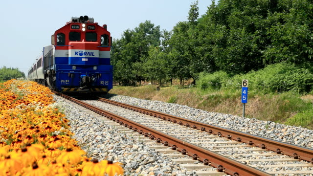 view of running a diesel engine mugunghwa train on the gyeongbuk line for baegwon station in sangju-si - diesel fuel stock videos and b-roll footage