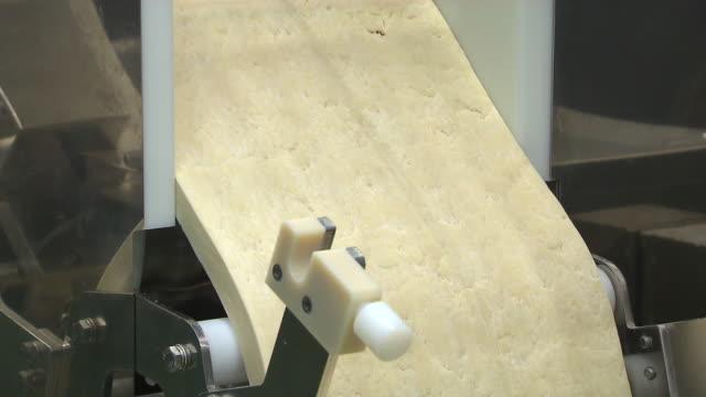 View of running a machine of dumpling skin at an instant dumpling factory