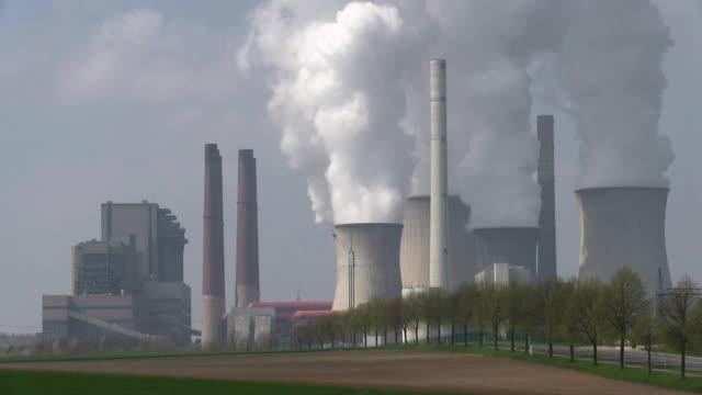 WS View of running coal power plants / Neurath, North Rhine Westphalia, Germany