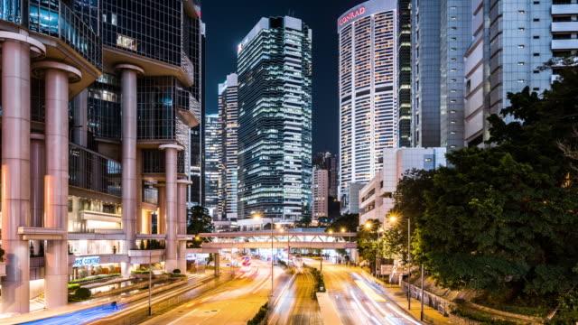 T/L WS TD View of Rush Hour Traffic at Night / Hong Kong, China