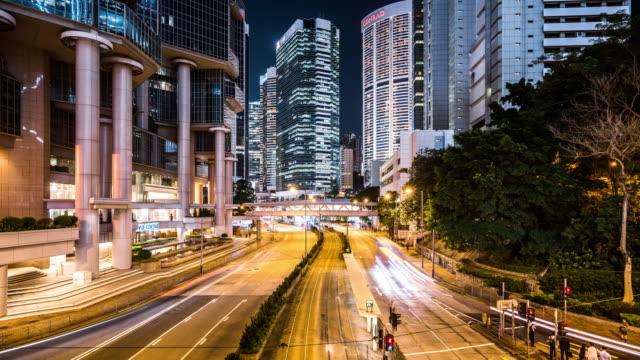 T/L WS ZO View of Rush Hour Traffic at Night / Hong Kong, China