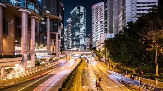 T/L WS View of Rush Hour Traffic at Night / Hong Kong, China