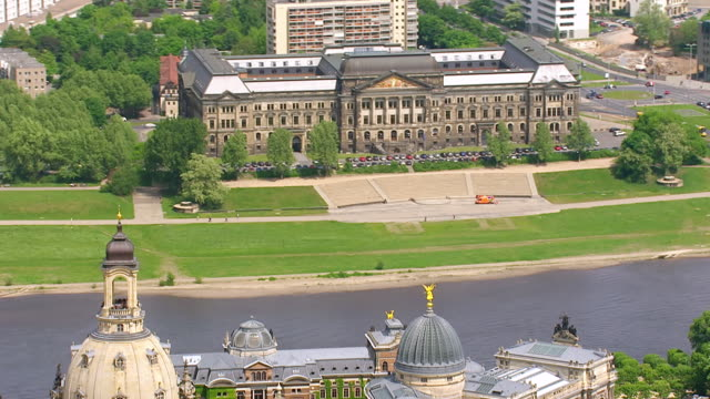 ws aerial view of sachsisches staatsministerium der finanzen with small river in city / dresden, saxony, germany - saxony stock videos & royalty-free footage
