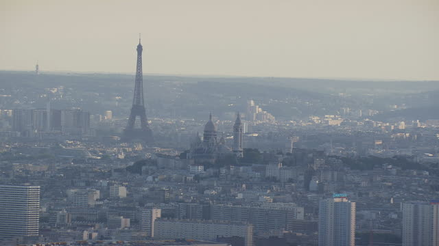 ws view of sacre coeur and eiffel tower / paris, france - basilique du sacre coeur montmartre stock videos & royalty-free footage