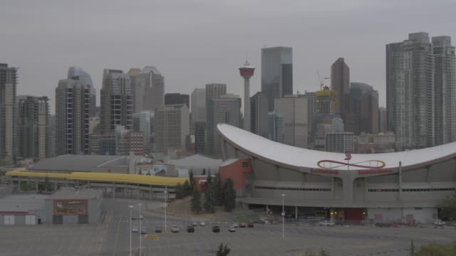 View of Saddledome and Calgary skyline, Calgary, Alberta, Canada, North America