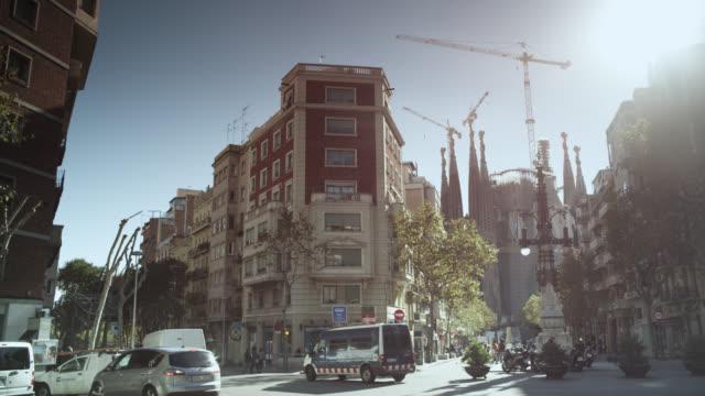 WS PAN View of sagrada familia street / Barcelona, Catalunya, Spain