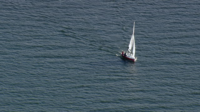 ws arieal zi ts view of sail boat in ocean / vermont, united states - vermont stock videos & royalty-free footage