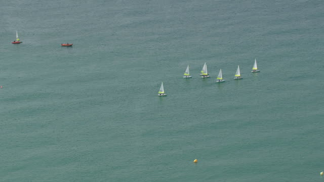 WS AERIAL ZI View of sail boats at Valras-Plage city / Languedoc Roussillon, France