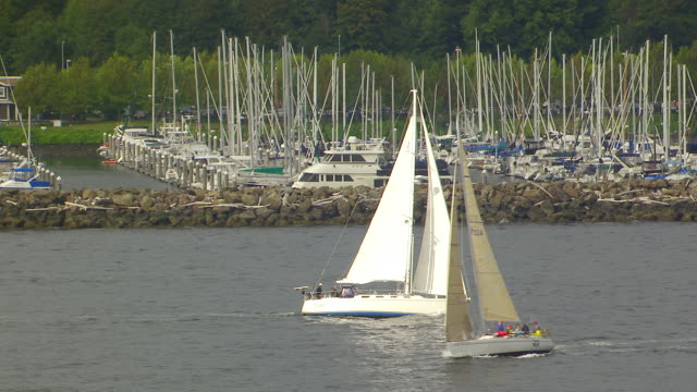 ws aerial ts view of sailboat moving in water in front of elliott bay marina / seattle, washington, united states - elliott bay stock videos & royalty-free footage