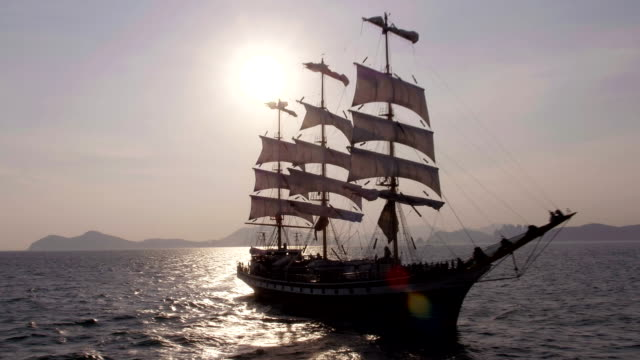 view of sailing ship on sea near haeundae beach (famous beach in south korea) in busan - sailing ship stock videos & royalty-free footage
