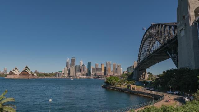 View of sailing tourboats under Sydney Harbor Bridge (famous travel destinations) and Sydney Opera House