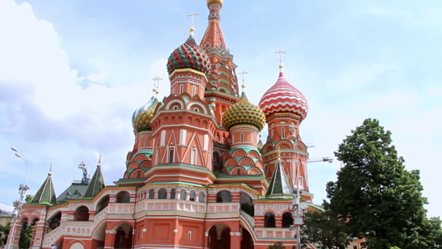 ws tu view of saint basil / moscow, russia - st. basil's cathedral stock videos and b-roll footage