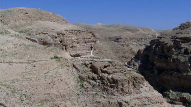 WS POV ZI AERIAL View of saint George monastery in Judean desert / St George's monastery, Judean Desert, Israel