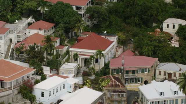 WS AERIAL POV View of Saint Thomas Synagogue with cityscape / Charlotte Amalie, Saint Thomas, US Virgin Islands, United States
