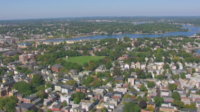 ws aerial pov view of salem common with townscape / salem, massachusetts, united states - salem stock videos & royalty-free footage