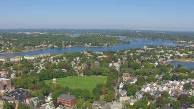 ws aerial pov view of salem common with townscape / salem, massachusetts, united states - salem massachusetts stock videos & royalty-free footage
