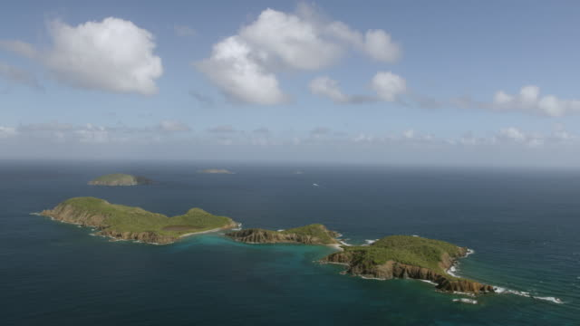 WS AERIAL POV View of Salt Cay and West Cay island with Atlantic ocean / West End, Saint Thomas, US Virgin Islands, United States