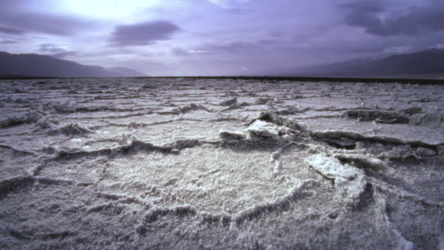 WS POV AERIAL View of salt flats at death valley / Death Valley National Park, California, USA