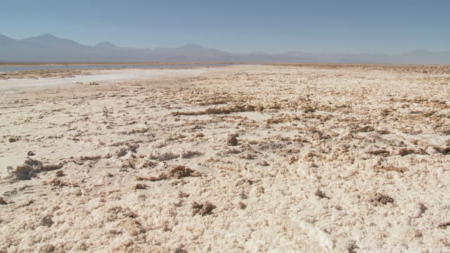 ws pan view of salt in high altitude salt lake / san pedro de atacama, norte grande, chile - salt flat stock videos & royalty-free footage