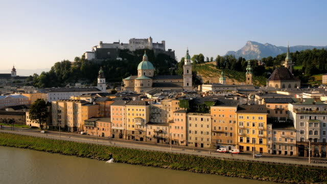 View of Salzburg old town across the Salzach river