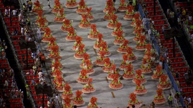 vídeos de stock e filmes b-roll de ms aerial view of sambadrome marques de sapucai at night / rio de janeiro, brazil - rio de janeiro
