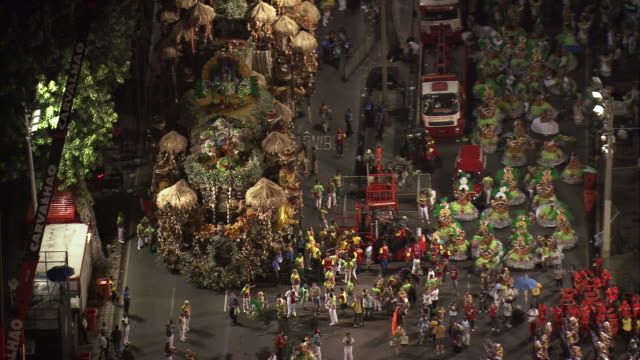 ms aerial view of sambadrome marques de sapucai carnival / rio de janeiro, brazil - リオデジャネイロ点の映像素材/bロール