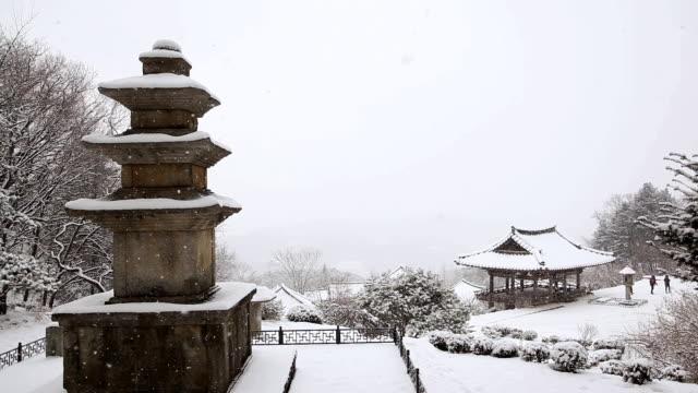 WS View of Samcheungseoktap stone pagoda in Buseoksa Temple and snow falling in winter / Yeongju, Gyeongsangbuk-do, South Korea