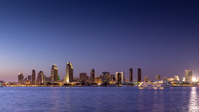 view of san diego skyline across the bay - day to night time lapse - san diego stock videos & royalty-free footage