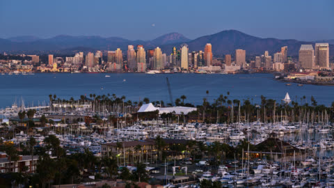 t/l view of san diego skyline with marina in foreground at dusk / san diego, california, usa - harbour stock videos & royalty-free footage