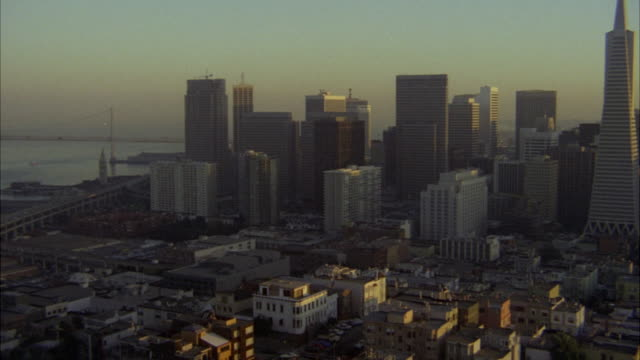 ws pan view of san francisco city skyline to knob hill / san francisco, california, united states - knob stock videos and b-roll footage