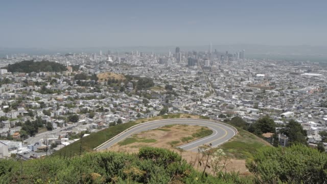 view of san francisco from twin peaks, san francisco, california, united states of america, north america - kraneinstellung stock-videos und b-roll-filmmaterial