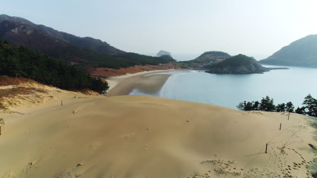 view of sand dune in uido island / sinan-gun, jeollanam-do, south korea - rock face stock videos & royalty-free footage