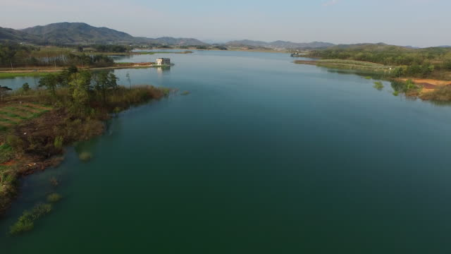 view of sangju gonggeomji(artificial reservoir) - north gyeongsang province stock videos & royalty-free footage