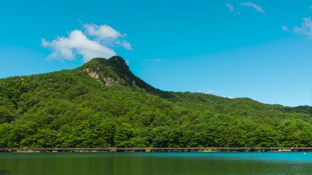 view of sanjeong lake / pocheon-si, gyeonggi-do, south korea - seeufer stock-videos und b-roll-filmmaterial