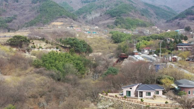 vídeos de stock e filmes b-roll de view of sansuyoo(cornus fruit) village in chirisan national park, jeollanam-do, south korea - cornus