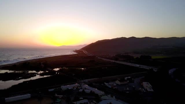 view of santa barbara and pacific ocean from ventura at twilight. - santa barbara california stock videos and b-roll footage