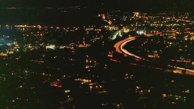 T/L WS HA View of Santa Barbara, dusk to night / California, USA