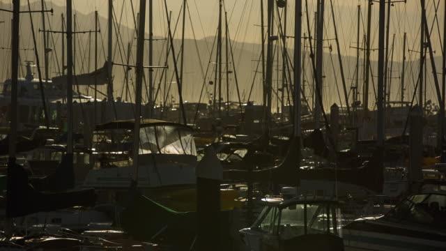 WS View of Santa Barbara yacht harbor at sunset