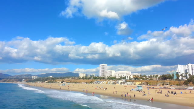 view of santa monica beach on a clear day - beach house stock videos & royalty-free footage