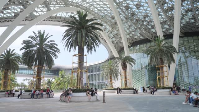 view of sanya international duty free city,hainan,china. - tropical tree stock videos & royalty-free footage