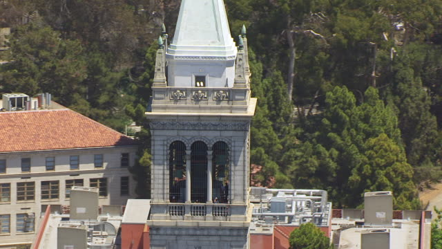 MS AERIAL POV View of Sather Tower, University of California / Berkeley, California, United States