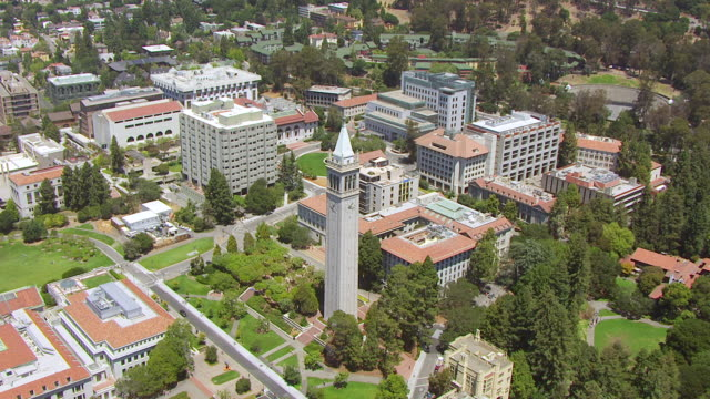 WS ZI AERIAL POV View of Sather Tower, University of California / Berkeley, California, United States