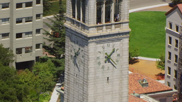 MS ZO AERIAL POV View of Sather Tower, University of California with townscape / Berkeley, California, United States