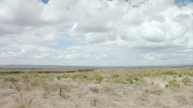 WS PAN View of savanna landscape against blue sky / Kenya