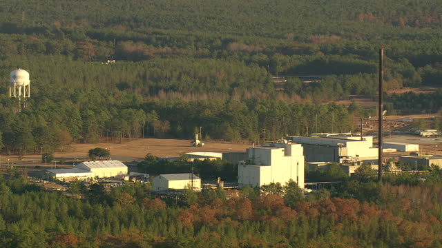 ws aerial view of savannah river site of nuclear sites / south carolina, united states - nuclear energy stock videos & royalty-free footage