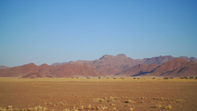WS PAN View of Savannah with mountains in back side / Etosha National Park, Namibia