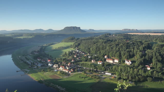 WS PAN View of Saxon Switzerland and Elbe River at sunrise, view from Bastei / Germany