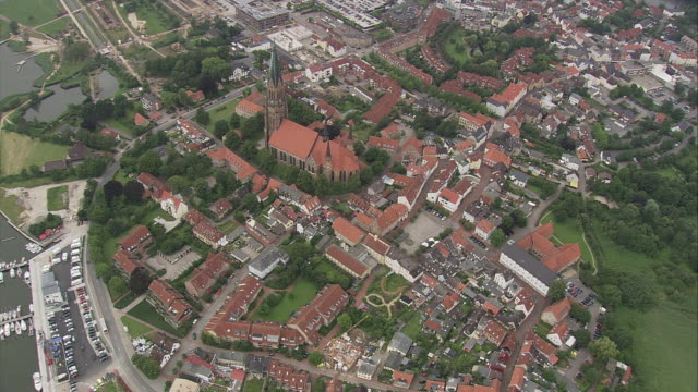 aerial view of schleswig, schleswig-holstein, germany - schleswig holstein stock videos & royalty-free footage